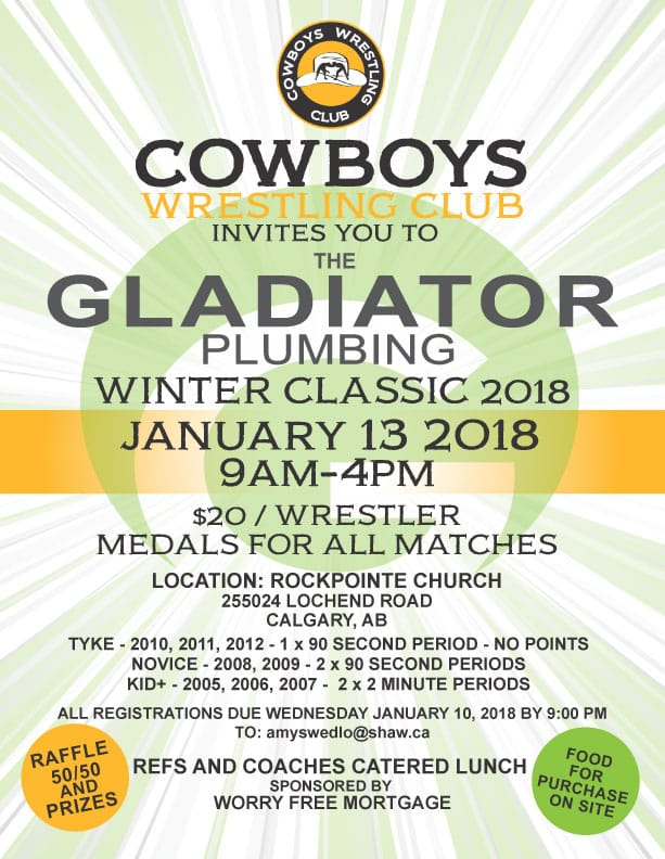 Cochrane Cowboys Wrestling Club Gladiator Plumbing Winter Classic Tournament 2017